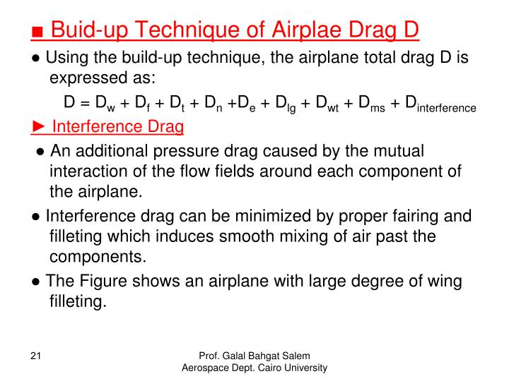 ■ Buid-up Technique of Airplae Drag D