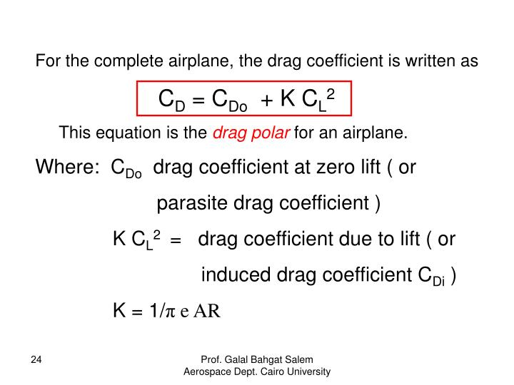For the complete airplane, the drag coefficient is written as