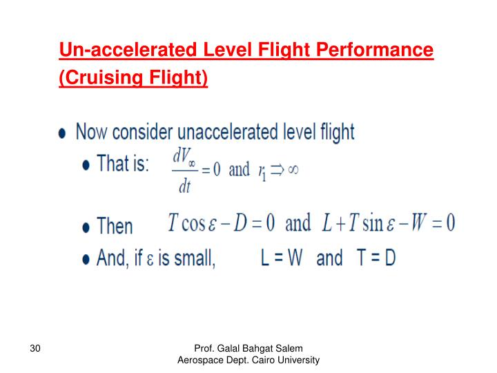 Un-accelerated Level Flight Performance