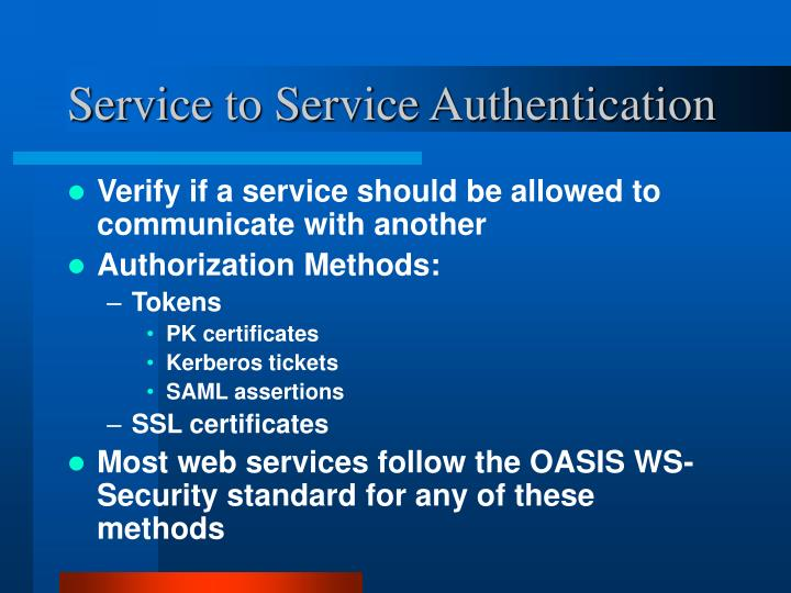 Service to Service Authentication