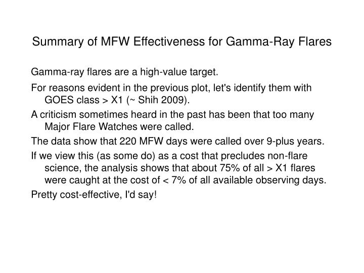 Summary of MFW Effectiveness for Gamma-Ray Flares