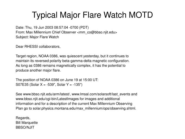 Typical Major Flare Watch MOTD