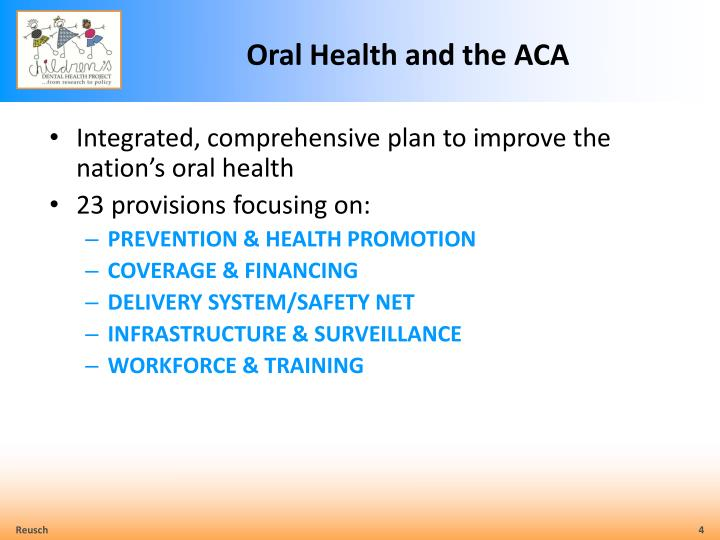 Oral Health and the ACA