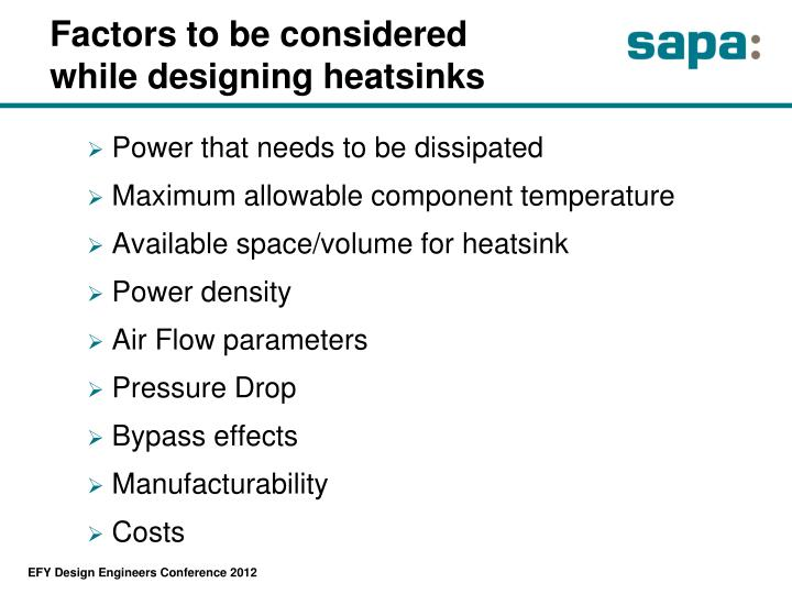Factors to be considered while designing heatsinks