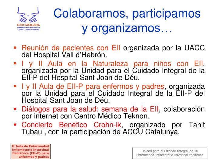 Colaboramos, participamos y organizamos…