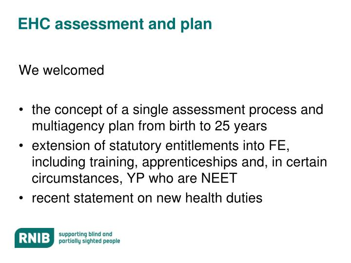 EHC assessment and plan