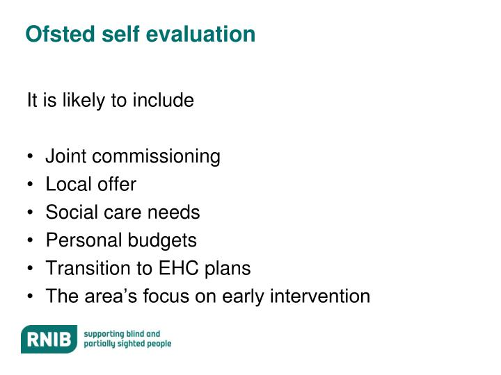 Ofsted self evaluation