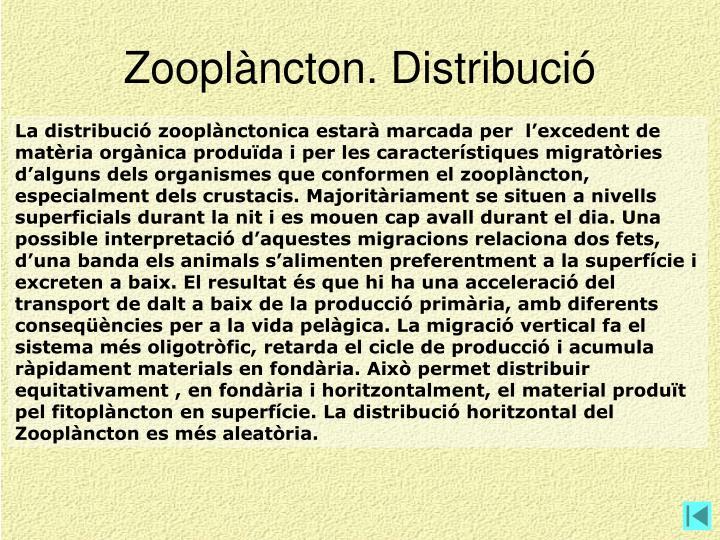 Zooplàncton. Distribució
