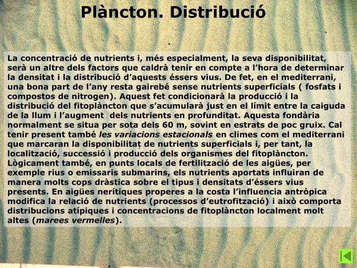 Plàncton. Distribució