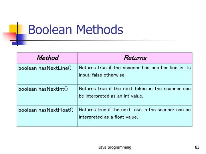 Boolean Methods