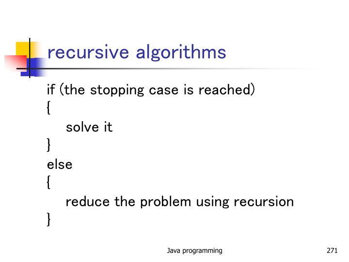 recursive algorithms