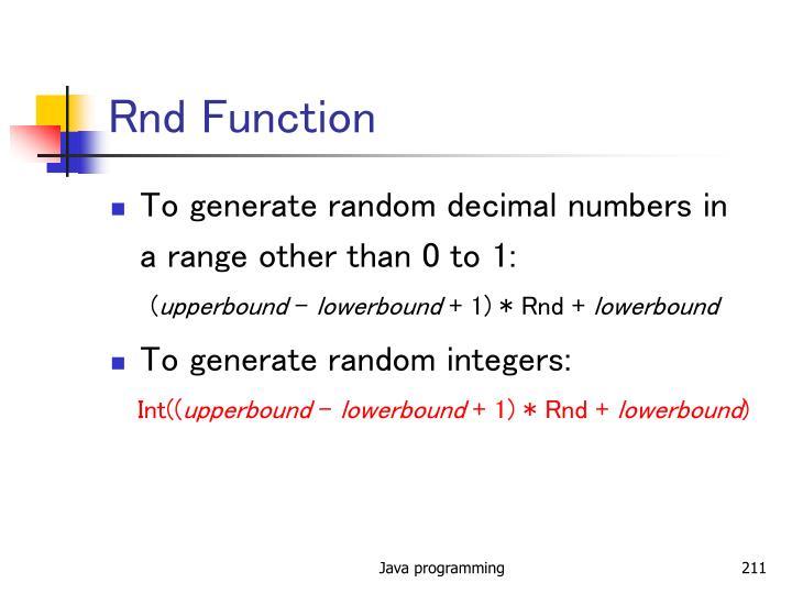 Rnd Function