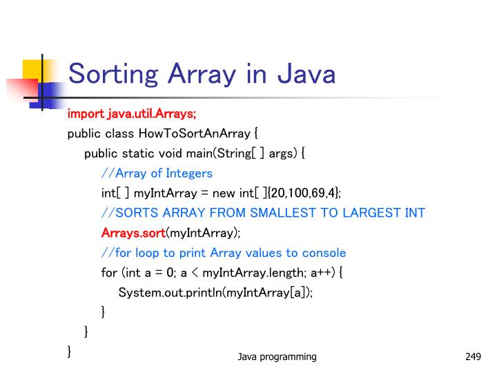 Sorting Array in Java