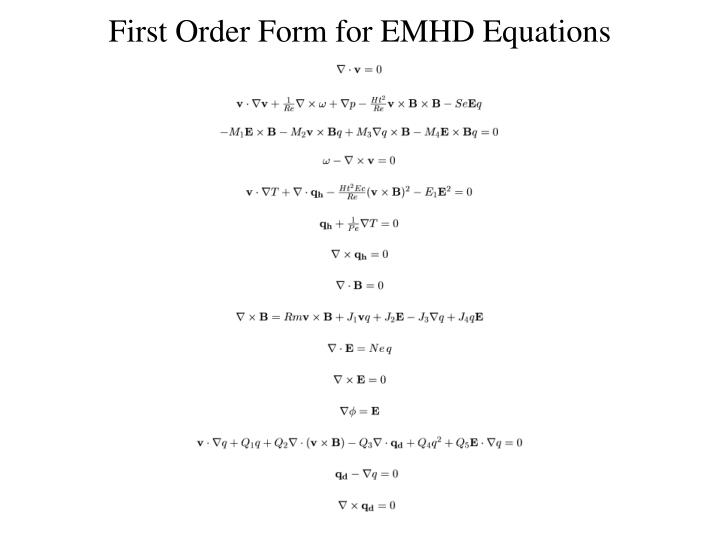 First Order Form for EMHD Equations