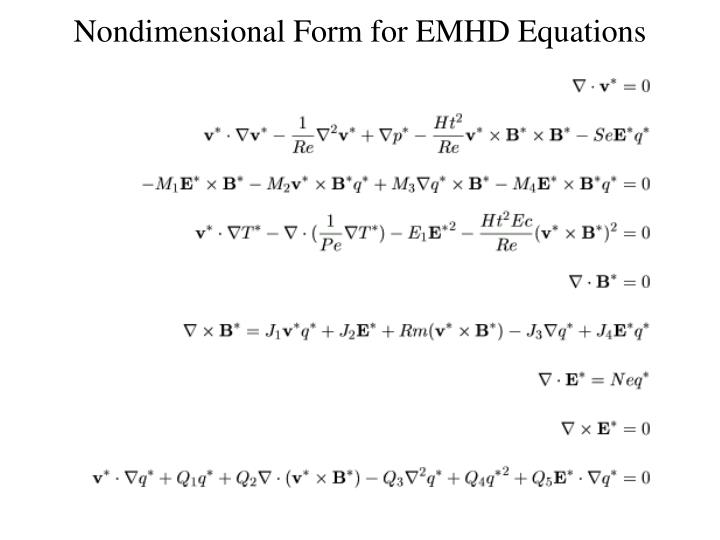 Nondimensional Form for EMHD Equations