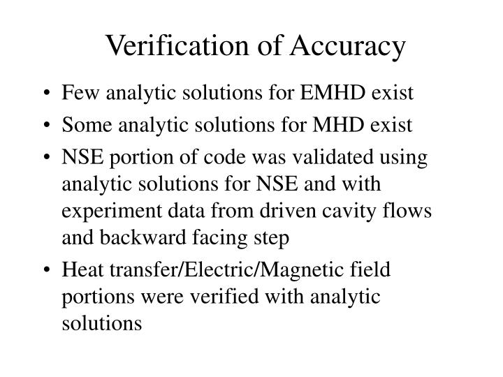 Verification of Accuracy