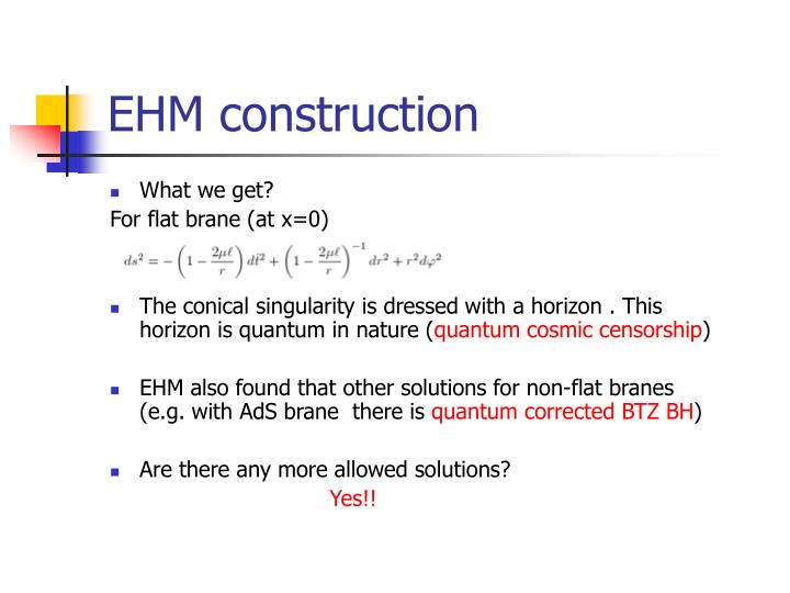 EHM construction