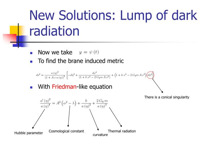 New Solutions: Lump of dark radiation