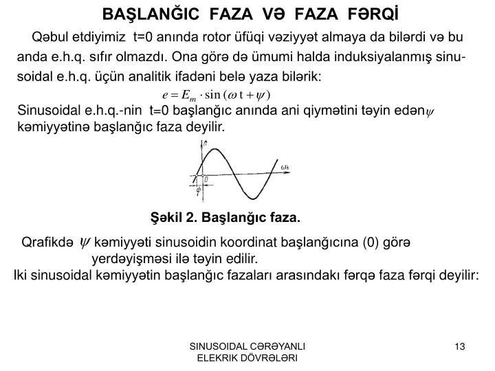BAŞLANĞIC  FAZA  VƏ  FAZA  FƏRQİ