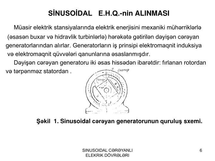 SİNUSOİDAL   E.H.Q.-nin ALINMASI