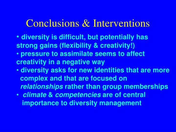 Conclusions & Interventions