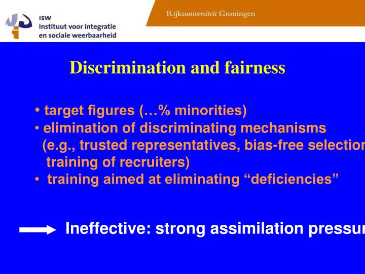 Discrimination and fairness