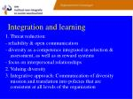 integration and learning