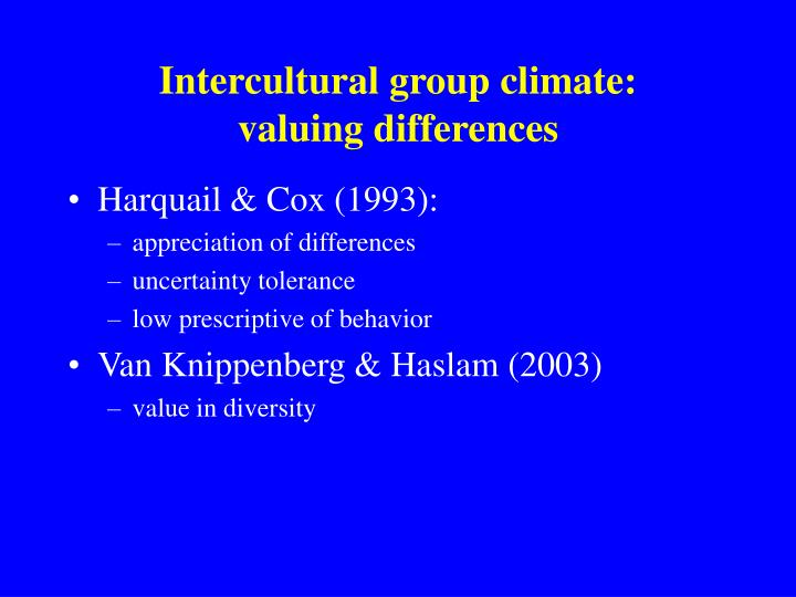 Intercultural group climate: