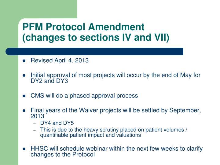 PFM Protocol Amendment