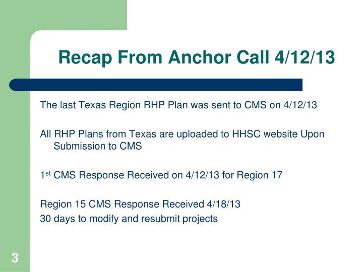 Recap From Anchor Call 4/12/13