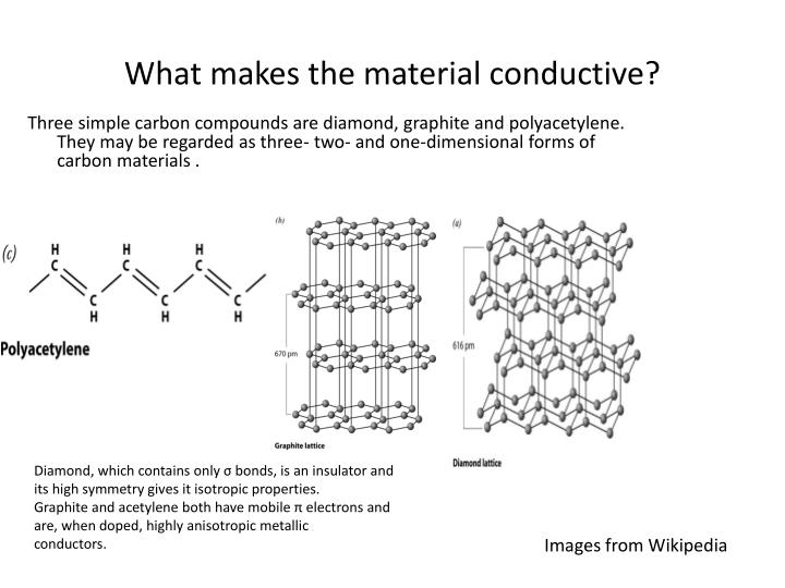 Three simple carbon compounds are diamond, graphite and polyacetylene. They may be regarded as three- two- and one-dimensional forms of carbon materials .