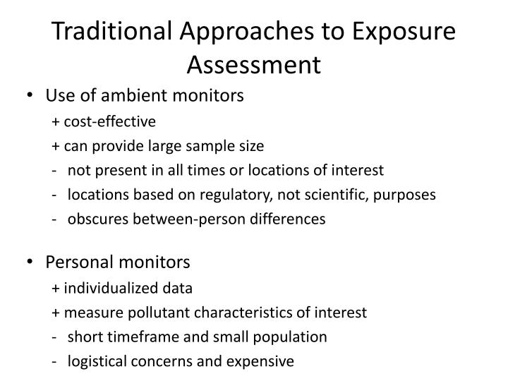 Traditional Approaches to Exposure Assessment