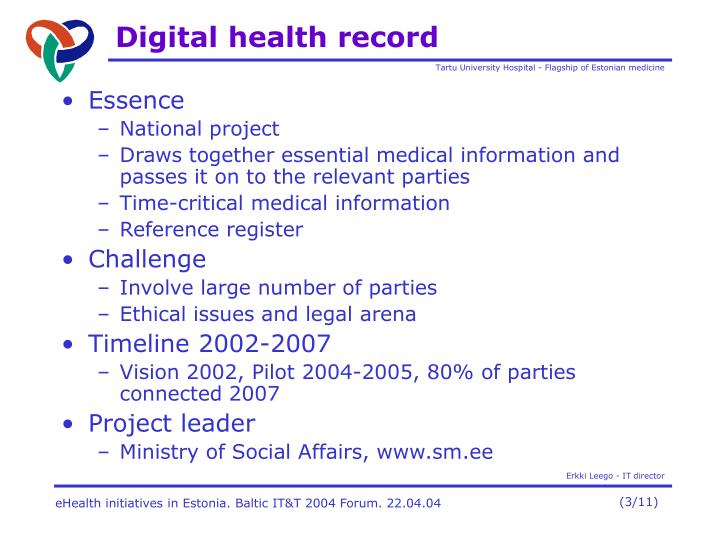 D igital health record