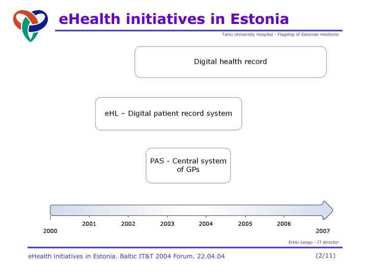 Ehealth initiatives in estonia1