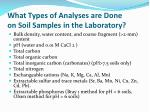 what types of analyses are done on soil samples in the laboratory