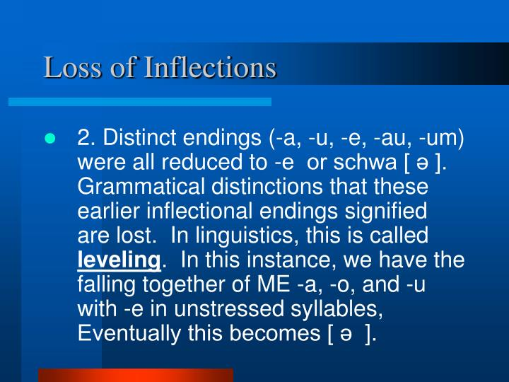 Loss of Inflections