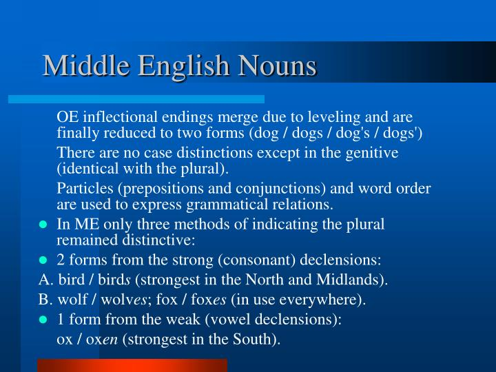 Middle English Nouns