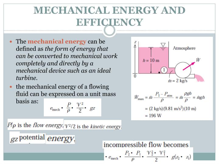 MECHANICAL ENERGY AND EFFICIENCY