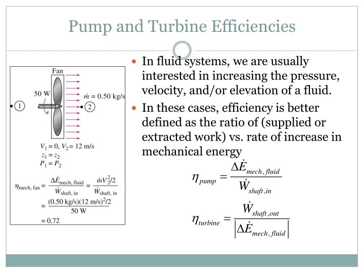 Pump and Turbine Efficiencies