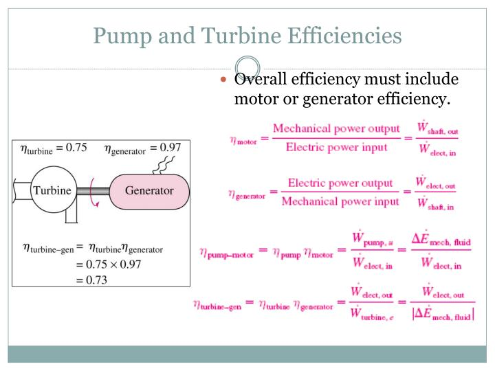 Pump and Turbine Efficiencies