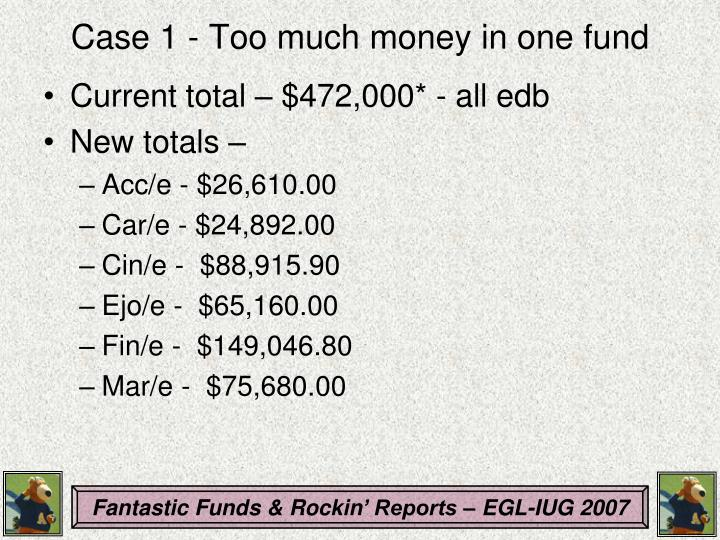 Case 1 - Too much money in one fund
