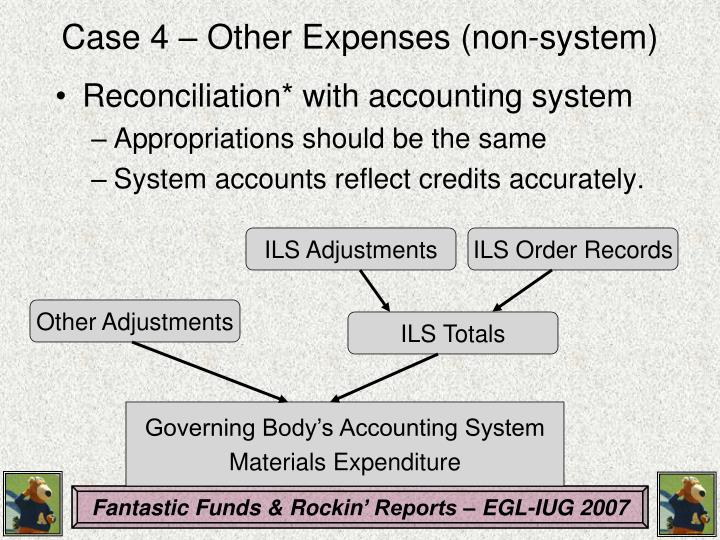 Case 4 – Other Expenses (non-system)