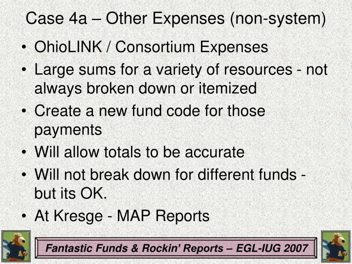 Case 4a – Other Expenses (non-system)