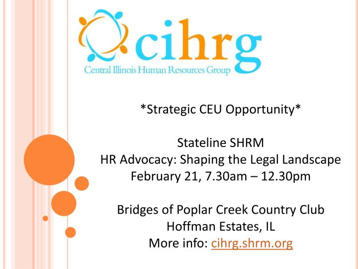 *Strategic CEU Opportunity*