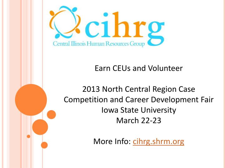 Earn CEUs and Volunteer