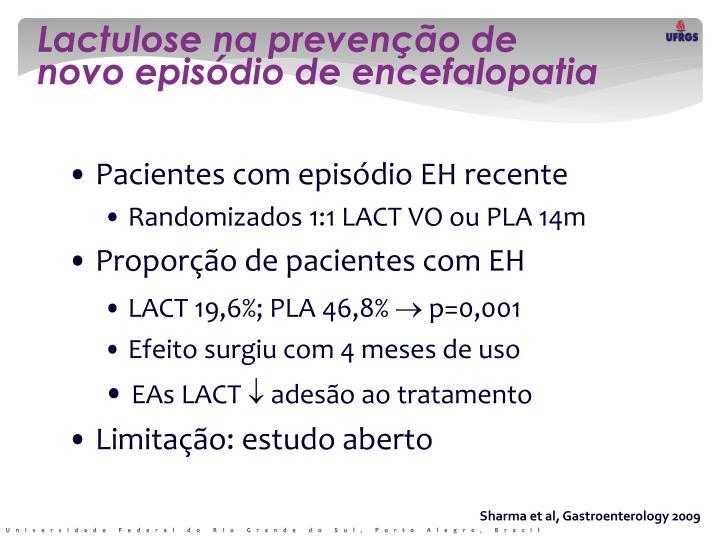 Lactulose na prevenção de novo episódio de encefalopatia
