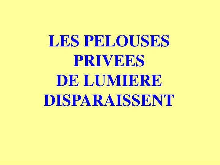 LES PELOUSES PRIVEES             DE LUMIERE DISPARAISSENT