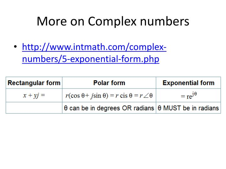 More on Complex numbers
