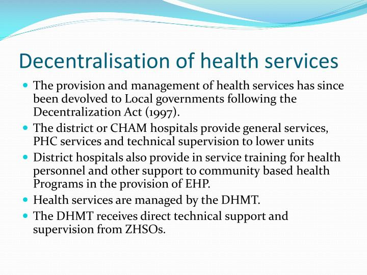 Decentralisation of health services