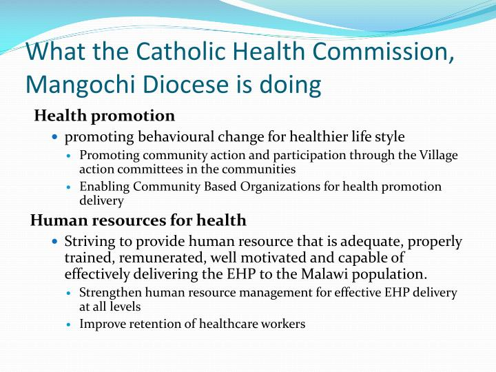 What the Catholic Health Commission, Mangochi Diocese is doing